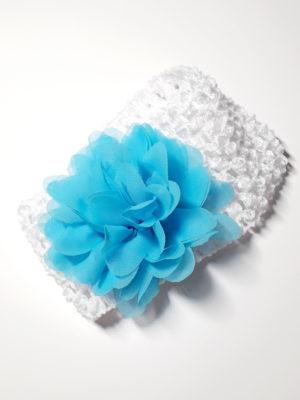 bílá s modrým květem