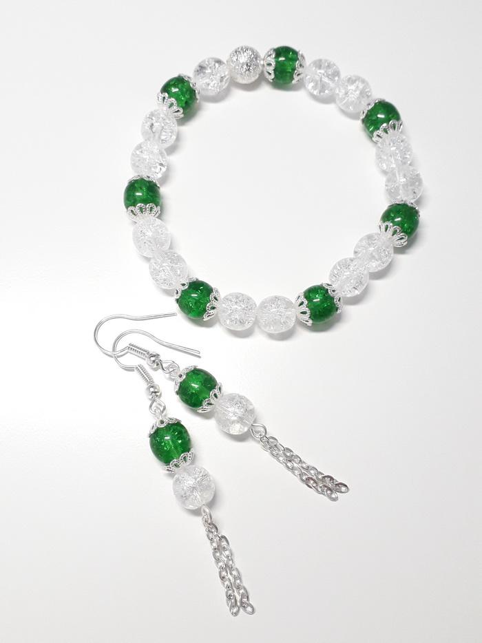 náušnice krystal se zelenou tmavě2