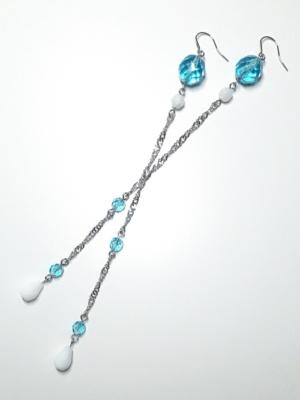 dlouhé modré visací náušnice elsa 1