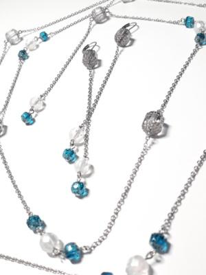 náhrdelník řetěz souprava modrá krystal 1