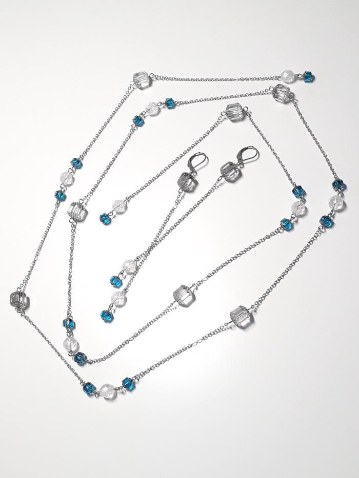 náhrdelník řetěz souprava modrá krystal 3