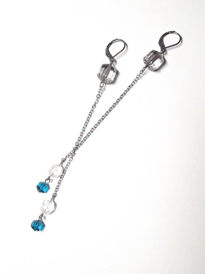 náhrdelník řetěz souprava modrá krystal 4