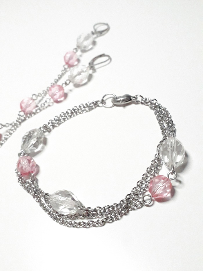 visací náušnice krystal s růžovou 1