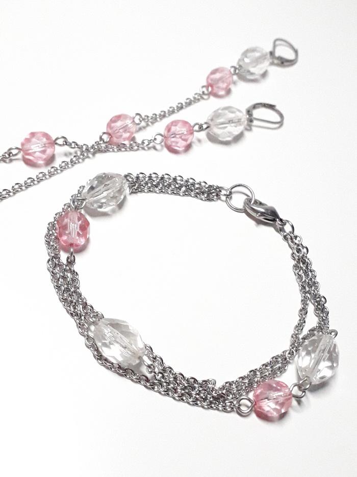 visací náušnice krystal s růžovou 2