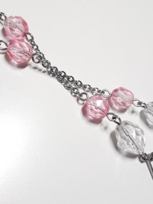 visací náušnice krystal s růžovou 3